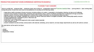 production assistant work experience certificate