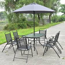Patio Furniture Set With Umbrella - amazon com giantex 8pcs patio garden set furniture 6 folding