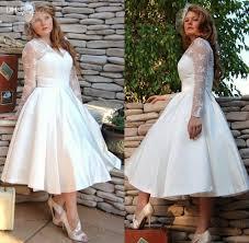 discount tea length wedding dress v neck fat wedding