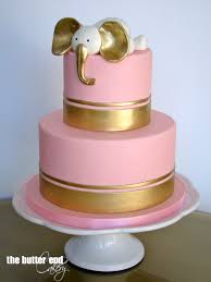 pink and gold elephant baby shower cake by the butter end cakery