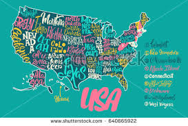 usa map with names silhouette map usa handwritten names states stock vector 641077066