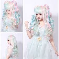 ambre suit curly hair 68cm lolita wig pink blue mixed beige ombre long curly clip in