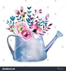 watercolor bouquets flowers pot rustic floral stock illustration