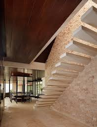 Brick Stairs Design Floating Staircase Design On Rough Brick Wall With Beige Floor