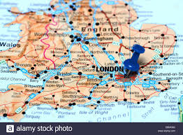 Map Pf Europe by London Pinned On A Map Of Europe Stock Photo Royalty Free Image