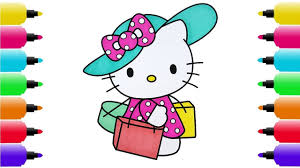 hello kitty go shopping coloring pages and drawing for kids youtube
