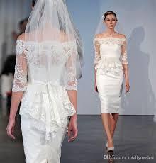 Knee Length Wedding Dresses 2017 New Short Sheath Fitted Knee Length Wedding Dresses With Half