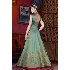 gown designs designer silk gown dress in apple green color dmv15160