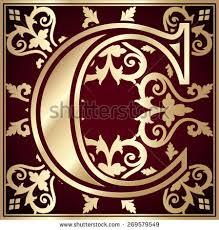 decorative letter c flowers decorative letter c in color stock