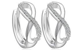 infinity earrings huggie hoop infinity earrings groupon goods