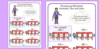 magician partitioning worksheet hundreds tens units