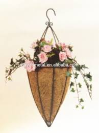 cone shape hanging basket with hooks metal wire hanging flower