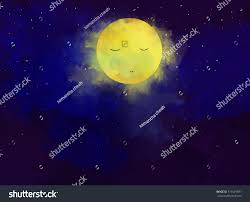 graphic watercolor digital painting peaceful moon stock