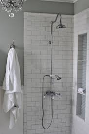 Stainless Steel Shower Stall White Subway Tile Bathroom Shower Glass Shower Enclosure Features