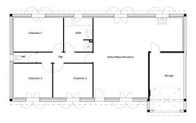 plan de maison 3 chambres salon plan maison 90
