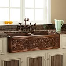 Vine Design DoubleBowl Copper Farmhouse Sink Kitchen - Copper sink kitchen