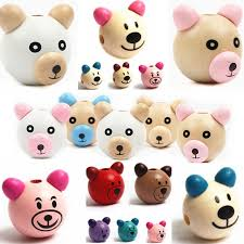 wooden faced teddy bears wooden 5pcs 3d smiling wood diy