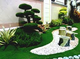 home garden design plan with white stoned idea and green grass