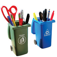 mini trash and recycling can pencil holder set pencil holder