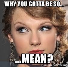 Why You So Mean Meme - why you gotta be so mean parainoid taylor swift meme