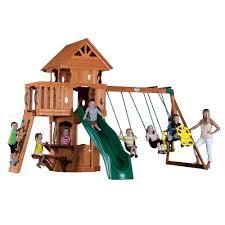 Gorilla Playsets Catalina Wooden Swing Set Gorilla Playsets Pioneer Peak With Timber Shield Cedar Playset 01