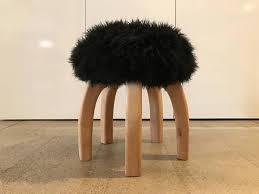 yerra black fur stool at 1stdibs