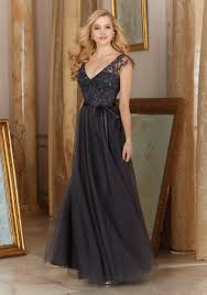 flutter style dress tulle bridesmaid dress with embroidered bodice and flutter cap