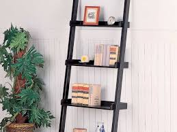 Ladder Bookcase White by Furniture Espresso Stained Wooden Leaning Ladder Shelf Built In