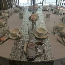 silver sequin table runner sequin table linen tamaryns treasures floral design venue styling