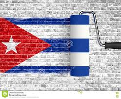 Cuba Flag Roller To Paint On White Brick Wall With Cuba Flag Wall With