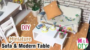 How To Make Dollhouse Furniture From Recycled Materials Diy Miniature Sofa U0026 Modern Table How To Make A Sofa U0026 Table For