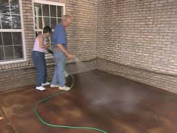 Covering Old Concrete Patio by How To Apply Concrete Stain How Tos Diy