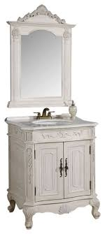 29 inch antique white single vanity with mirror 2