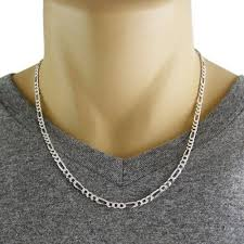 figaro chain silver necklace images Sterling silver figaro chain necklace with pave finish in 4mm jpg