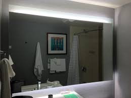 sumptuous bathroom mirror with lights behind indirect led lighting