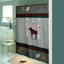 Cabin Shower Curtains Moose Shower Curtain Shop Everything Log Homes