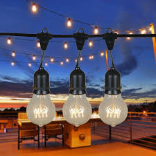 Edison Bulb Patio String Lights 15 Clear Suspended A19 Heavy Duty Vintage String Light Sets On