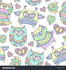 vector seamless pattern ornamental owls stock vector