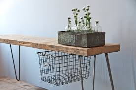 Bench With Baskets Reclaimed Wood Industrial Bench With 1 Sliding Locker Basket