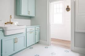 tiffany blue paint color transitional laundry room benjamin