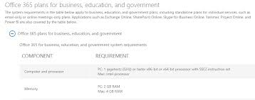 office 365 system requirements memory microsoft community
