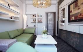 Room Theme Interior Small Modern Living Room With Sleek Leather Green Sofa