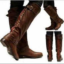 womens boots zipper back brown boots zipper up back and studs on the hunt