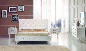 Buy Platform Beds Or Modern Beds In Modern Miami - Modern white leather bedroom set
