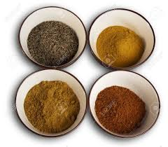 curcuma cuisine four spices typical of indian cuisine cumin curry chili and