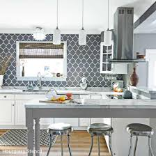 paint kitchen backsplash paint the hourglass allover stencil in gray and white to create a