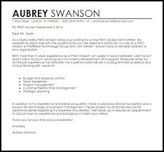 pmo analyst cover letter sample livecareer