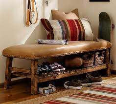 Pottery Barn Leather Leather Bench Pottery Barn