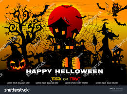 vintage moon pumpkin halloween background halloween night background creepy castle pumpkins stock vector