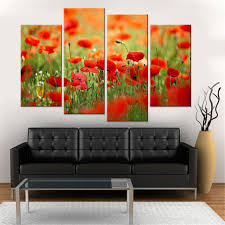 Poppy Home Decor 4 Pcs Modern Canvas Painting Wall Print Painting Poppies